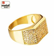 Men's Hip Hop Iced Out 14k Gold Plated Brass Hand Settings CZ Band Pinky Rings