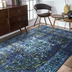 nuLOOM Overdyed Vintage Traditional Distressed Area Rug in Blue