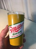 Vintage Mid Century Miller High Life Drinking Glass 12oz Champagne of beers