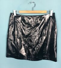 Topshop Tall Black PVC Faux Leather A Line Mini Skirt 12 - B53