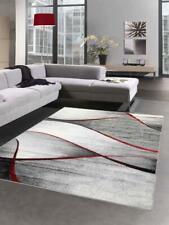 Tappeti Salotto con Design moderno a Onde in grigio antracite rosso
