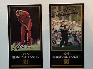 Bernhard Langer Signed Masters Champion BLACK cardS Jsa Coa 1985, 1993 Set of 2