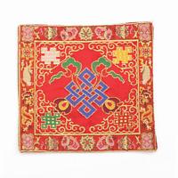 Red Handmade Brocade Altar Cloth Eternal Knot, Nepal