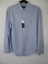 Ralph Lauren Men Medium Slim Fit Button Collar Blue/Charcoal Checks on Creme NWT