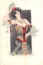 POSTCARD  GLAMOUR   ART  NOUVEAU   CONTINENTAL   GIRL  DANCER  DRESS