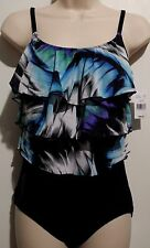 INCHES AWAY Black Multicolor Blue 3 Tier Ruffles One Piece Swimsuit 8 NEW! $89