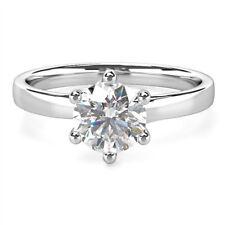Round 2 Ct Moissanite Rings Fine 14K White Gold Diamond Rings Size 5 7 9