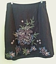 New Dressbarn 16W woman plus skirt black linen floral bead color embroider size