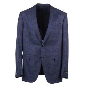 Ermenegildo Zegna Blue and Green Woven Check Wool-Silk Sport Coat 44L (Eu 54)