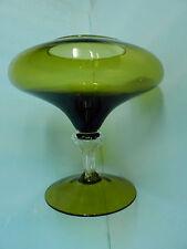 MINT ART GLASS COMPOTE VASE BOWL STUNNING LIGHT OLIVE GREEN W/ CLEAR STEM