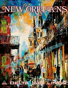 New Orleans Louisiana 1950 The Big Easy Travel Vintage Poster Print Retro Style