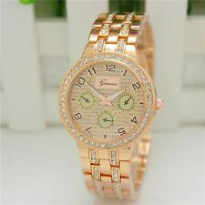 Geneva Ladies Designer Wrist Watch With Rose Gold Rhinestone  Bracelet