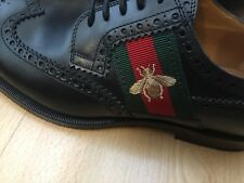NEW GUCCI SHOES BLACK LEATHER BEE MENS UK 6 40 GREEN RED WEB LACE UP DERBY