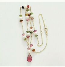 "Solid 14K Yellow Gold TOURMALINE & PEARL Necklace Adjusts 14"" & 16"""