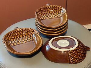 Pottery Barn (Set of 6) Acorn Serving Dishes Farmhouse Rustic Decor Fall Holiday