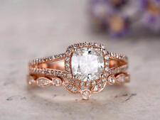 Ring Bridal Set Rose Gold Finsh 1.50 Ct Cushion Cut Diamond Halo Engagement
