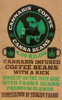 CANNA BEANS TEGRITY COFFEE MARIJUANA  BURLAP farms BAG 046 SACK strain pot leaf