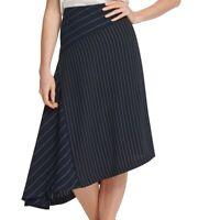 DKNY Womens Midi Skirt Navy Blue Size 0 Pinstripe Asymmetrical Hem $89 469