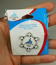 Torino 2006 Olympic Pin white snowflake AMINCO Official Licensed Product