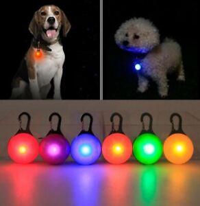 Dog LED Light Tag Collar Luminous Night Safety Clip Flashing Pendant UK Fast