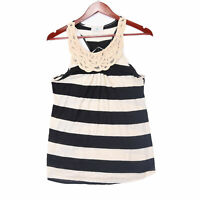 Threads Women's Blue Striped Lace Tank Top - Size Small
