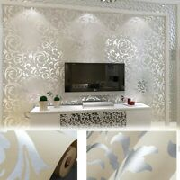 10M 3D Non-woven Damask Embossed Wallpaper Rolls Bedroom Living Room Wall Decor