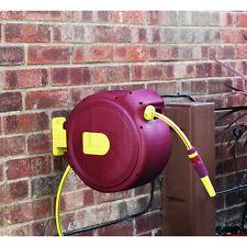 20m Heavy Duty Retractable Auto Rewind Garden Hose Pipe Reel Spray Wall Mounted