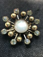 Rare Milky Cabochon Clear Rhinestone Gold Faux Pearl Vintage Antique Brooch Pin