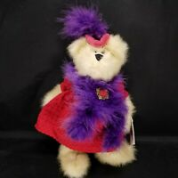"""Mercedes Red Hat Heritage Collection Teddy Bear Purple Boa Ganz 11""""  with Tags"""