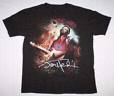 JIMI HENDRIX Playing Guitar T-Shirt Medium Black Facsimile Autograph