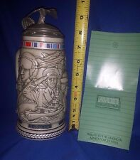 Rare 1990 AVON Handcrafted Military Tribute Stein-Army+Navy+Marines+Coast Guard