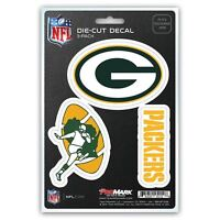 Green Bay Packers Decals Die-Cut Auto Multi-use Stickers 3-Pack
