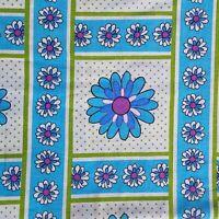 VINTAGE 60s 70s EXTRA WIDE Blue Flower Power Fabric Mod Groovy Retro 68 x 104
