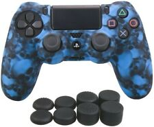 Silicone Skulls Blue Grip + (8) Multi Thumb Caps For PS4 Controller