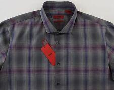Men's HUGO BOSS Gray Purple Colors Shirt XXL 2XL NWT NEW $155+ SLIM LINE WOW!