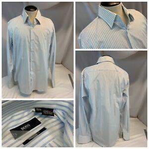 Hugo Boss Dress Shirt 15.5 34 35 White Stripe Cotton Point Collar New YGI H1-566