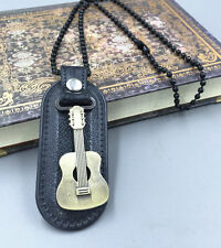 Men retro PU leather Metal guitar Pendant surfing stainless steel necklace