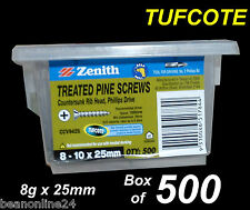 Treated Pine Timber Screws - Tufcote -  BULK 8g x 25mm - Box of 500