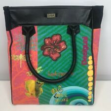 Desigual Painted Canvas Tote Bag Shopper Embroidered Dragonflies Pinup Girl Fish