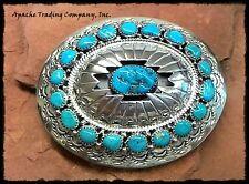 Native American-Navajo-Turquoise Belt Buckle-by Wilbur Musket