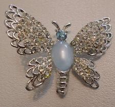 "3/4 x 1/2"" Silvertone Vintage 1950s Butterfly Pin Moonstone - Rhinestone 2 x"