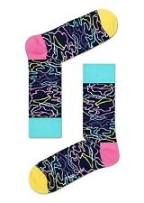Happy Socks Electric Bright Pattern Design Size 7 - 11 UK Mens Unisex Sock Gift