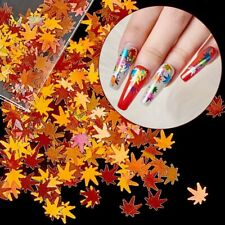 Nail Art Sequins Holographic Maple Leaf 3D Nail Glitter Flakes Laser Fall Leaves