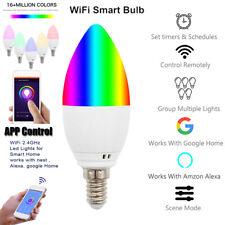 E14 Smart WiFiCandleLight Bulb RGB LED Works w/ Alexa Google Home Assistant