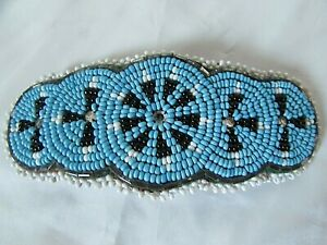 """Hair Barrette Hand Beaded Turquoise White and Black Seed Beads 5 1/4"""""""