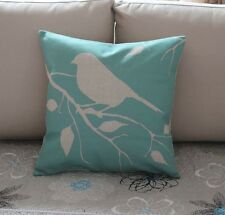 Turquoise Bird Branch Cotton Linen Throw Pillow Cushion Cover Home Decor Z380