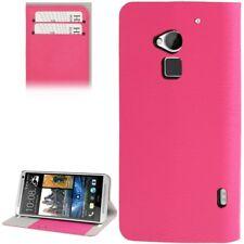 Book Tasche Wood für HTC One Max in pink mit Aufstellfunktion Schutzhülle Case