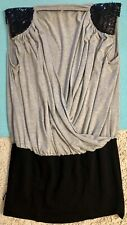 NIKIBIKI NIKI BIKI Gray grey black shoulder sequins V-neck faux wrap top Large L