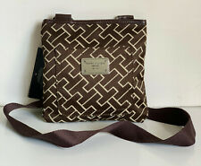 NEW! TOMMY HILFIGER BROWN SIGNATURE MONOGRAM CROSSBODY SLING BAG PURSE $55 SALE