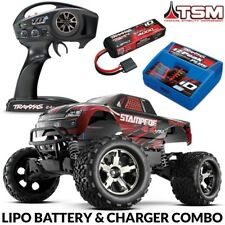 Traxxas Stampede 4X4 VXL Brushless RTR Truck RED w/TSM 3S LIPO & CHARGER COMBO